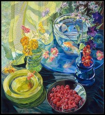 Janet Fish (American, born Boston, Massachusetts, 1938) Raspberries and Goldfish, 1981 Oil on linen with acrylic gesso ground; H. 72, W. 64 inches (182.9 x 162.6 cm.) The Metropolitan Museum of Art, New York, Purchase, The Cape Branch Foundation and Lila Acheson Wallace Gifts, 1983 (1983.171) http://www.metmuseum.org/Collections/search-the-collections/482633